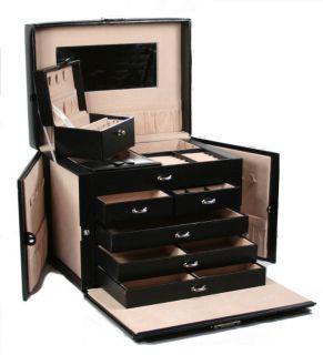 Quality Large Black Leather Jewelry Box Case Lock w Key SK1