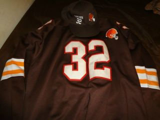 Jim Brown Mitchell Ness Cleveland Browns Jersey with Fitted Cap