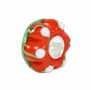 Pumpkin Halloween Murano Glass Bead Charm 925 Sterling Silver Core