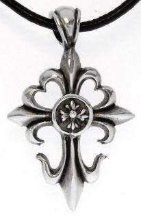 Gothic Fleur de Lis Cross Pewter Pendant Necklace