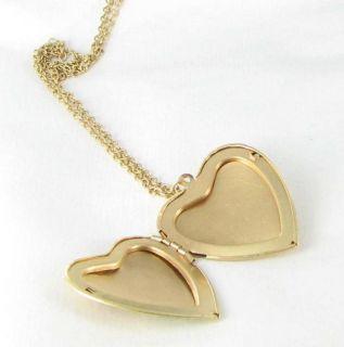 New Locket Pendant Necklace Heart Flowers Gold Tone Yellow Rust Black