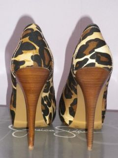 Jessica Simpson Ithika Tan Black Leopard Pump Sz 6 5 Heel Animal