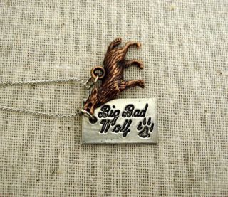 Twilight Jacob Inspired Big Bad Wolf Brass Charm Silver Necklace