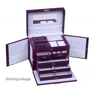 Large Purple Leather Jewelry Box with Travel Case Lock