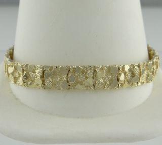 Yellow Gold Nugget Box Clasp Bracelet Fine Jewelry 27g 7 3 4