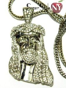Kanye West Iced Out Jesus Piece Pendant Franco Chain 36