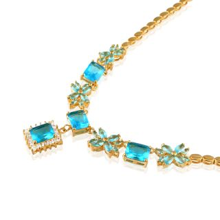 Aquamarine Gold Plated Pendant Necklace Silver Tone Neck Chain