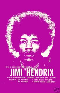 Jimi Hendrix at Fort Worth Texas Concert Poster 1970