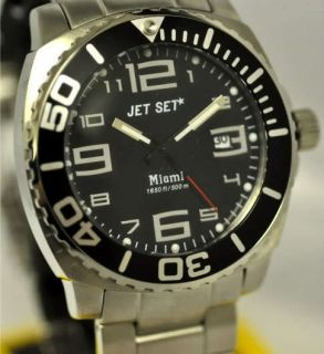 New Mens Jet Set Miami Black Dial Stainless Steel Date Watch