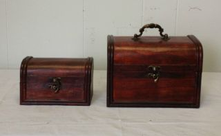Set Antique Vintage Style Jewelry Wooden Boxes HF 014C