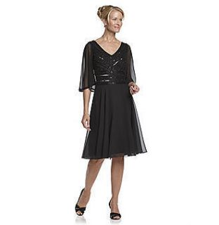 JKARA Mother of the Bride BLACK CHIFFON BEADED DRESS Semi Formal