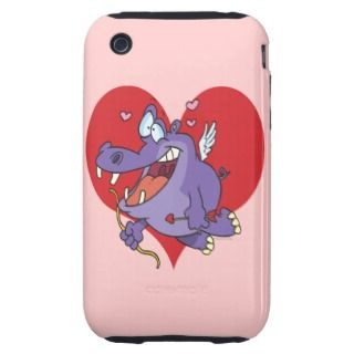 cute hippo valentine cupid cartoon character tough iPhone 3 cases