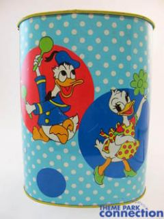 Disney Cheinco Vintage Mickey Minnie Donald Daisy Metal Garbage Trash