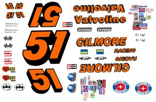 51 A J Foyt Gilmore Racing 1 64th HO Scale Waterslide Slot Car Decals