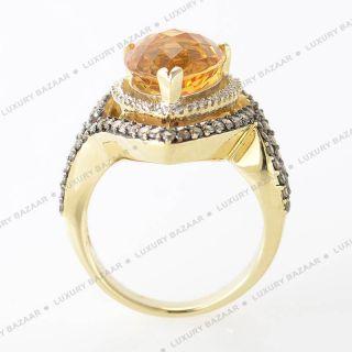 LeVian 14k Yellow Gold Orange Citrine and Diamonds Ring