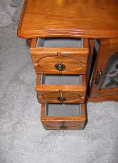 Dresser 3 Drawer 1 Door Stained Glass Mirror Jewelry Box Nice