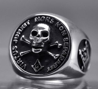 Sterling Silver Free Mason Masonic Ring Skull Jewelry