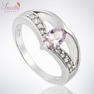 SAROTTA JEWELRY PINK SAPPHIRE WHITE 18K GOLD PLATED GP PARTY RING LADY
