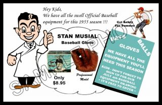 1955 Stan Musial Baseball Glove Store Poster St. Louis Cardinals The