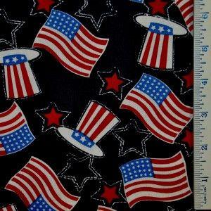 Half Yard R w B Uncle Sam Hat American Flag Patriotic USA July 4th
