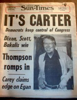 Times Headline Newspaper Jimmy Carter Elected President of US