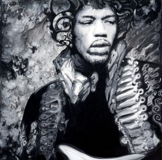 Jimi Hendrix Signed Lithograph Print 12x12 by Ocean Clark Concert
