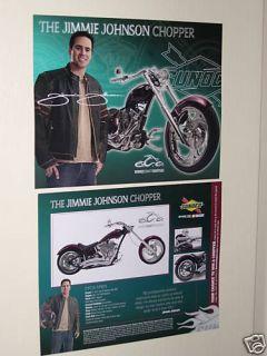 Jimmy Johnson Harley Davidson Chopper NASCAR Postcard