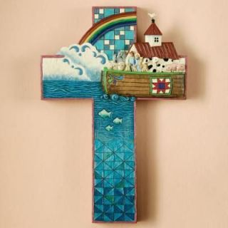 Jim Shore Heartwood Creek Wall Hanging Cross Noahs Ark