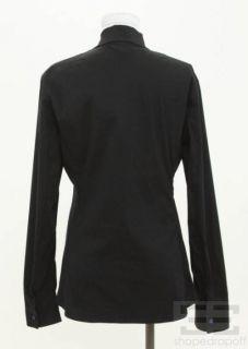 Jil Sander Navy Blue Cotton Neck Tie Top Size 38