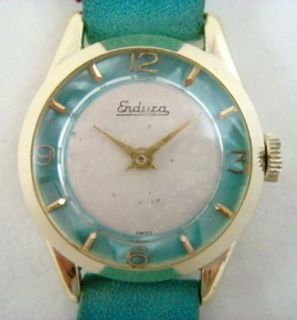 Vintage Ladies Endura Wrist Watch Swiss Made Cyan Blue Suede Band