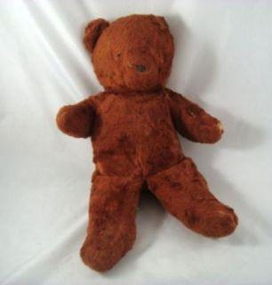 Vintage Antique Brown Fur Unjointed Teddy Bear 16