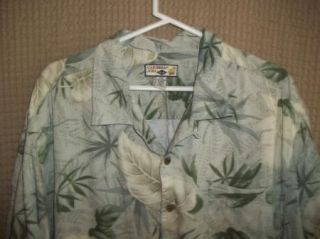 Green Beige Hawaiian Caribbean Joe Rayon Camp Shirt 2XL XXL
