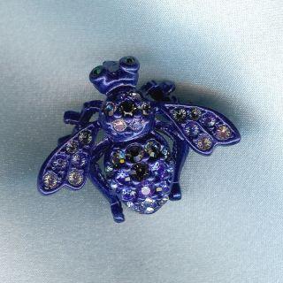 Joan Rivers Bee Pin Dark Blue Metal Shades of Blue Round Crystals