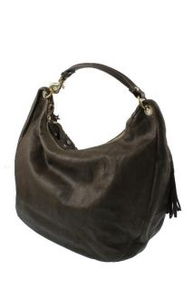 Jimmy Choo New Salor Brown Leather Studded Zodiac Hobo Handbag Large