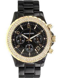 Brand New Michael Kors Women Chrono Black Gold Crystals MK5301 Watch