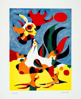 1940 Color Print Joan Miro Coq Rooster Colorful Art Chicken Crest Red