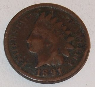 1891 U s Indian Head One 1 Cent Penny Small Cent Coin