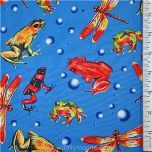 Half Yard Tropical Frog Dragonfly Insects Bright Blue Quilting Fabric