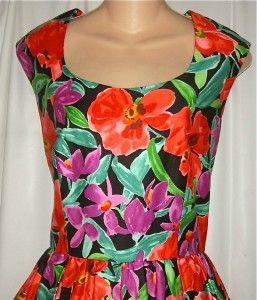 Vtg Joan Leslie 50s Style Floral Print Full Swingy Dress Rockabilly