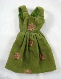 Vintage 1970s Barbie Fashion Doll Green Floral Corduroy Jumper Dress