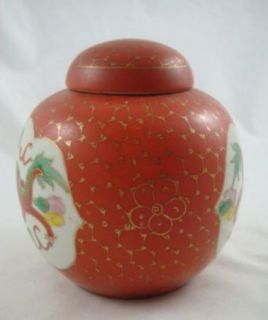 Century Chinese Porcelain Red Gold Dragon Ginger Jar with Lid