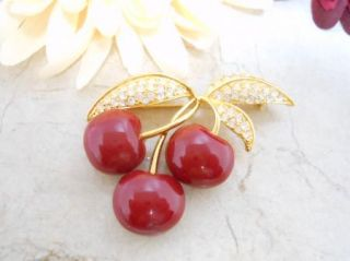 Joan Rivers Signed Gold Tone Rhinestone Leaf Red Enamel Cherries