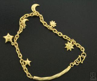 18K Gold Fancy High Fashion Sun Star Moon Charm Chain Bracelet