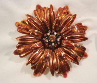 Joan Rivers Orange Daisy Brooch 3 Rhinestones Enamel
