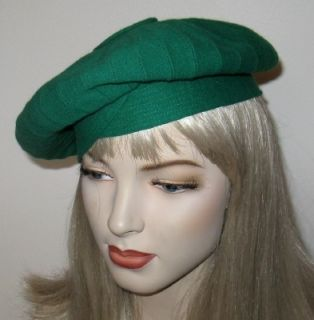 Vtg Mr John Young Elegants Kelly Green Beret Hat Minty