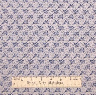 Joann Vintage Retro Floral Bouquet Navy Blue on Offwhite Cotton Fabric