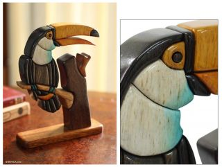 Toucan Hand Carved Ishpingo Wood Bird Sculpture Novica Peru