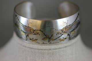 REED BARTON DAMASCENE CUFF BRACELET HAWKS INSCRIBED JOHN JAMES AUDUBON