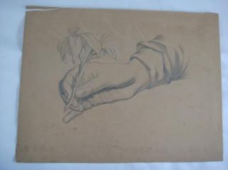 Antique Original C Roth 1870s Sketch Drawing Portrait of Hand Holding