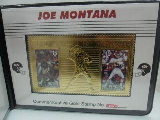 Joe Montana Gold Stamp Gridiron Football 1996
